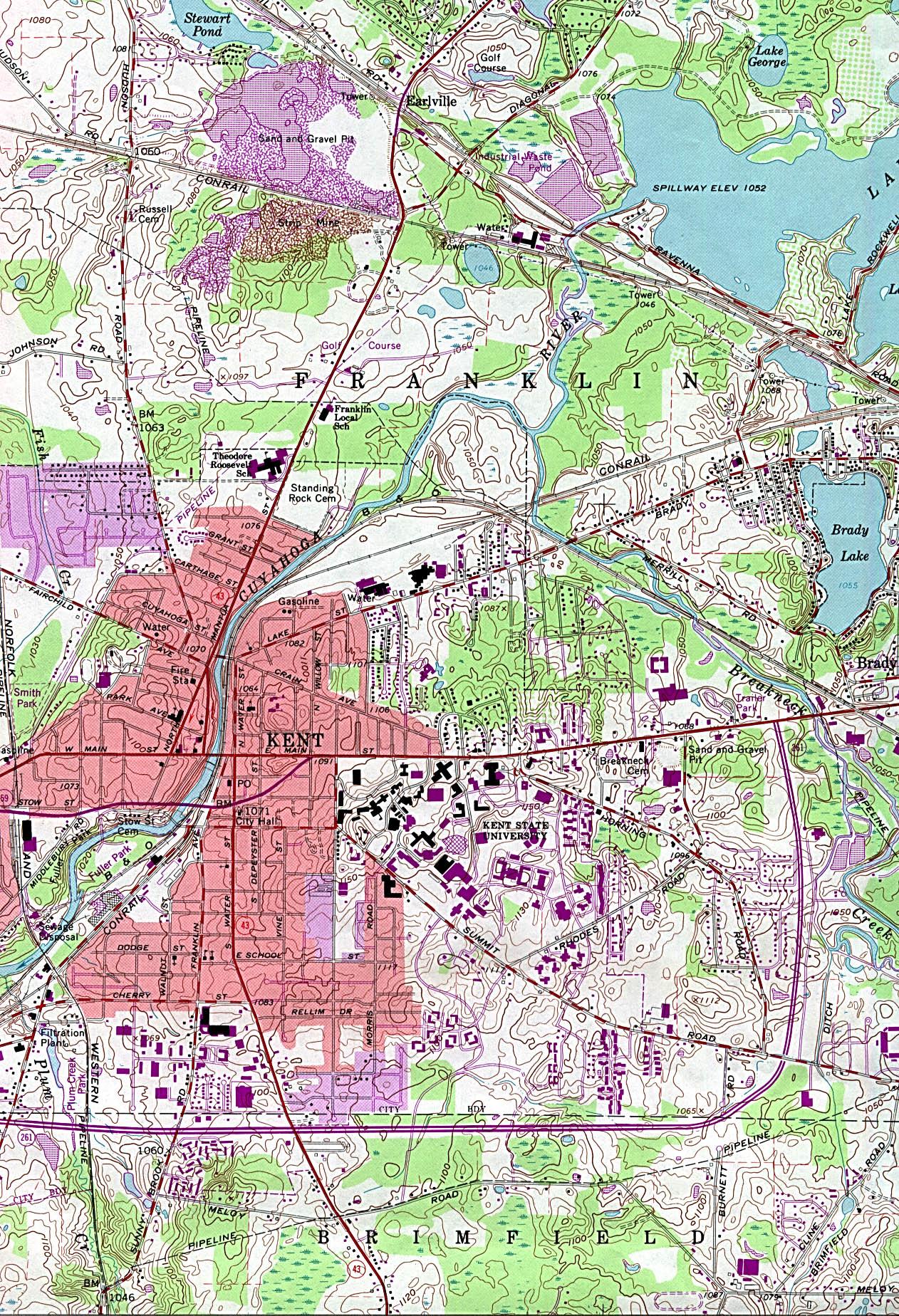 Kent Topographic City Map, Ohio, United States