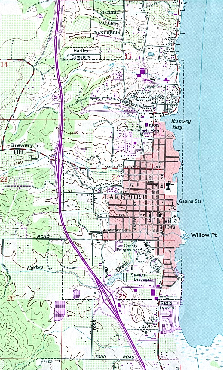 Lakeport Topographic City Map, California, United States