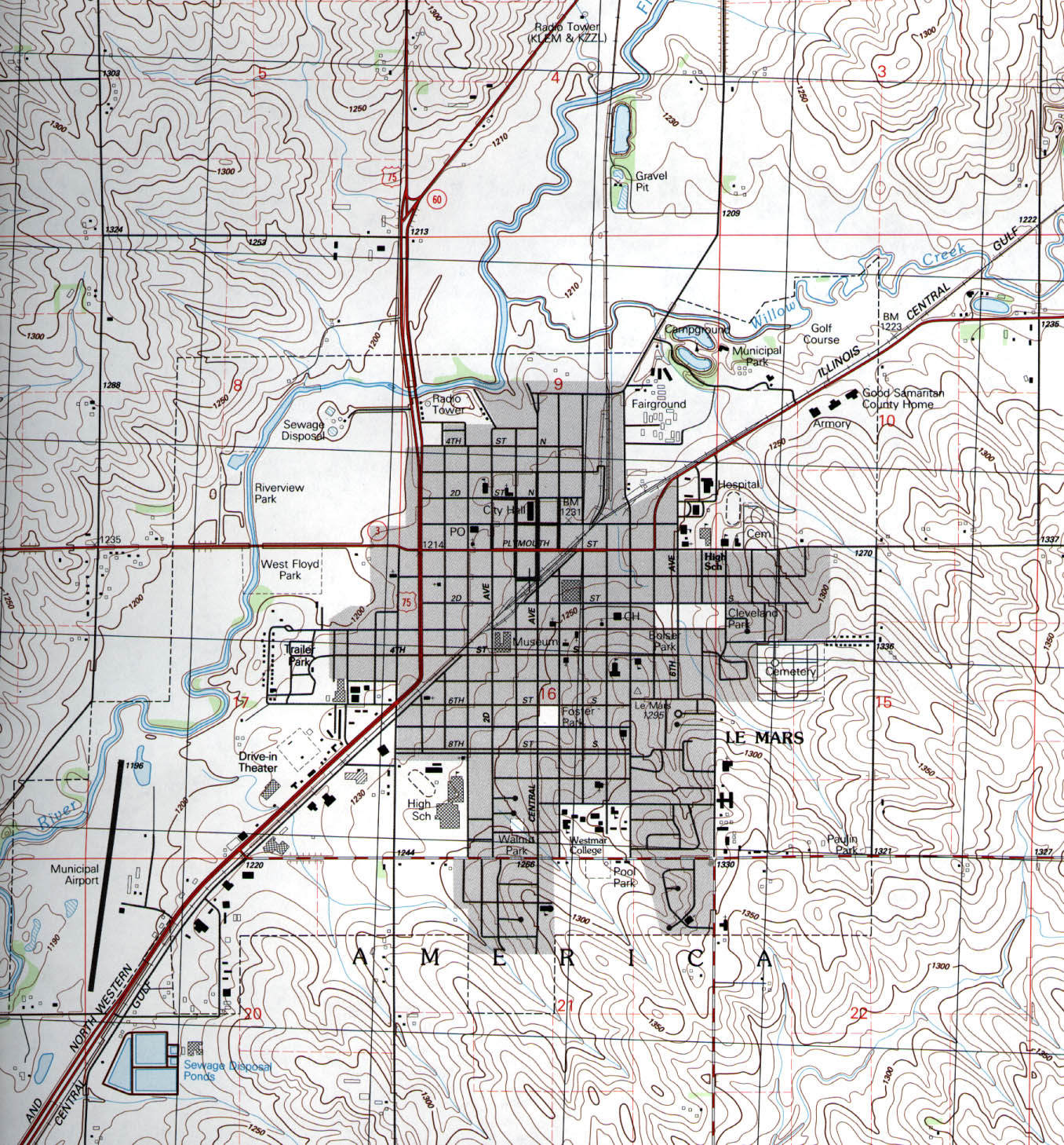 Le Mars Topographic City Map, Iowa, United States