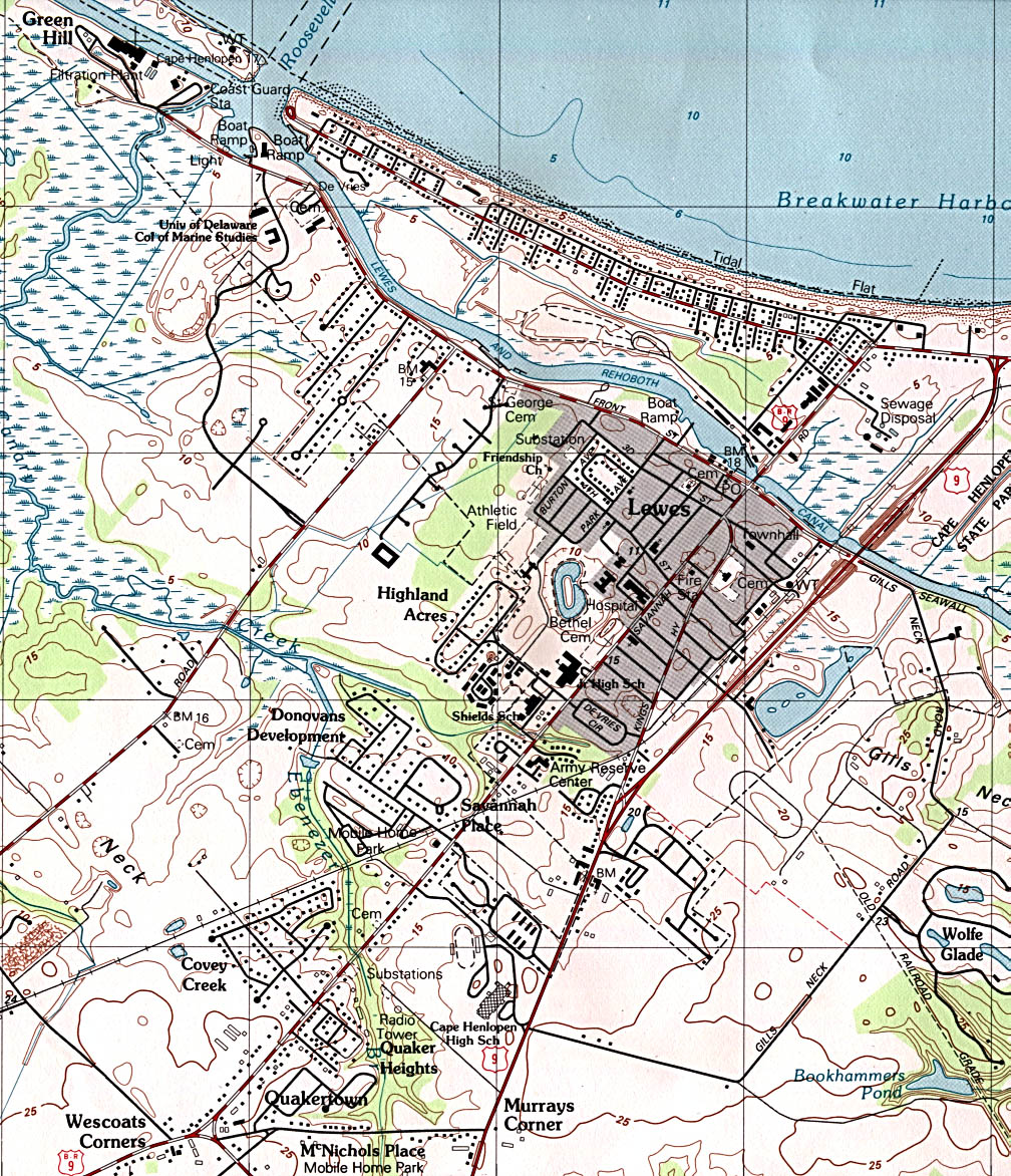 Lewes Topographic City Map, Delaware, United States