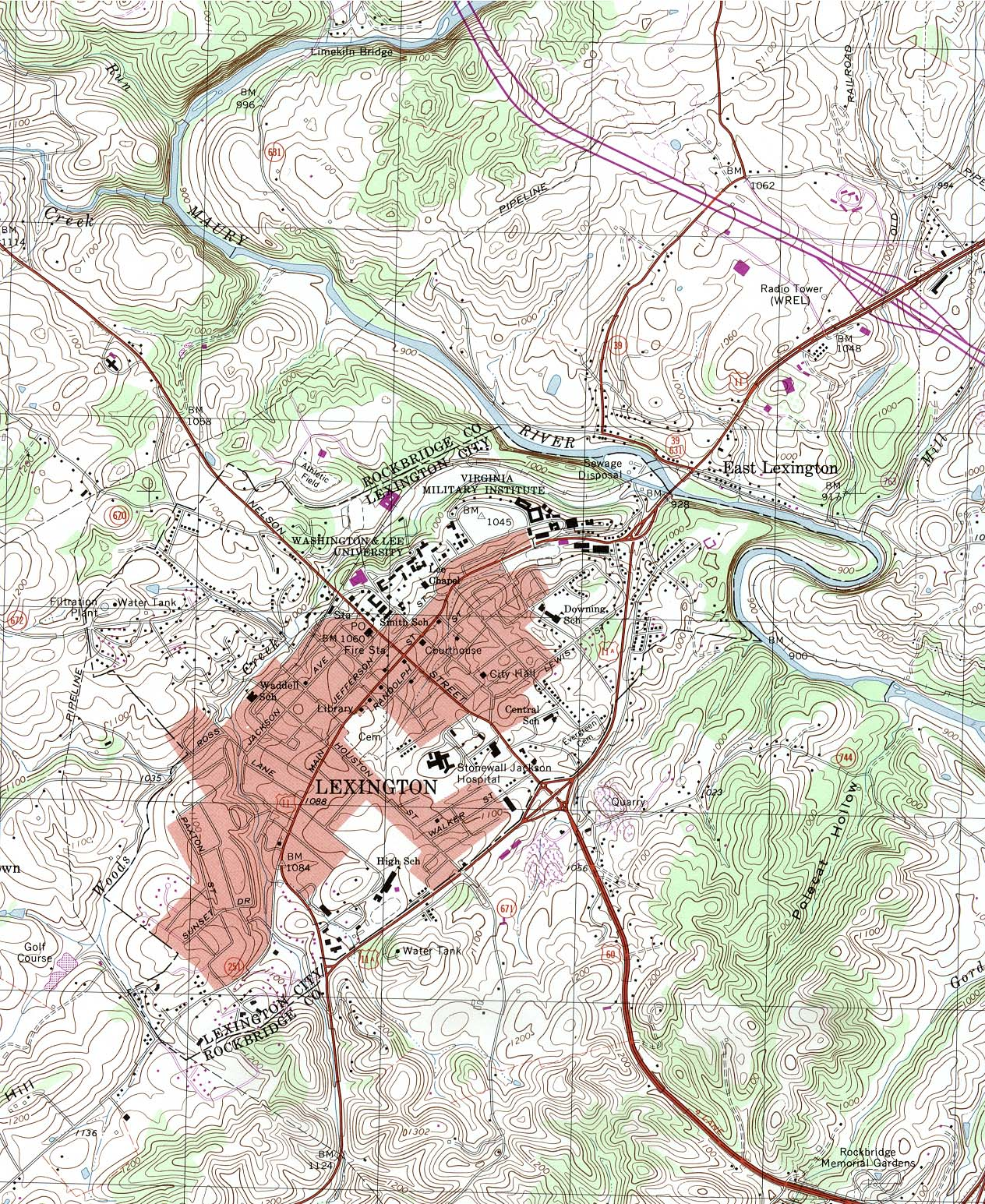 Mapa Topográfico de la Ciudad de Lexington, Virginia, Estados Unidos