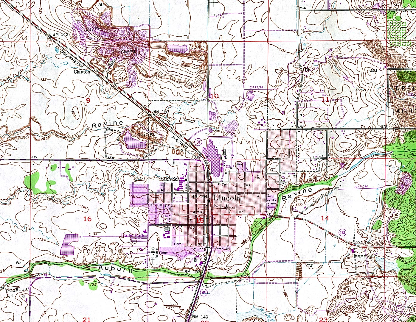 Lincoln Topographic City Map, California, United States