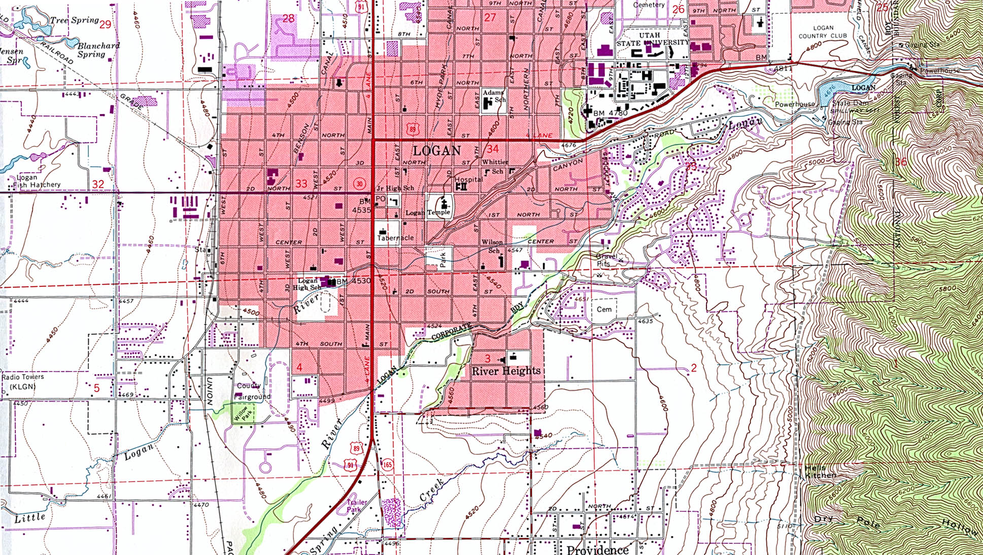 Logan Topographic City Map, Utah, United States