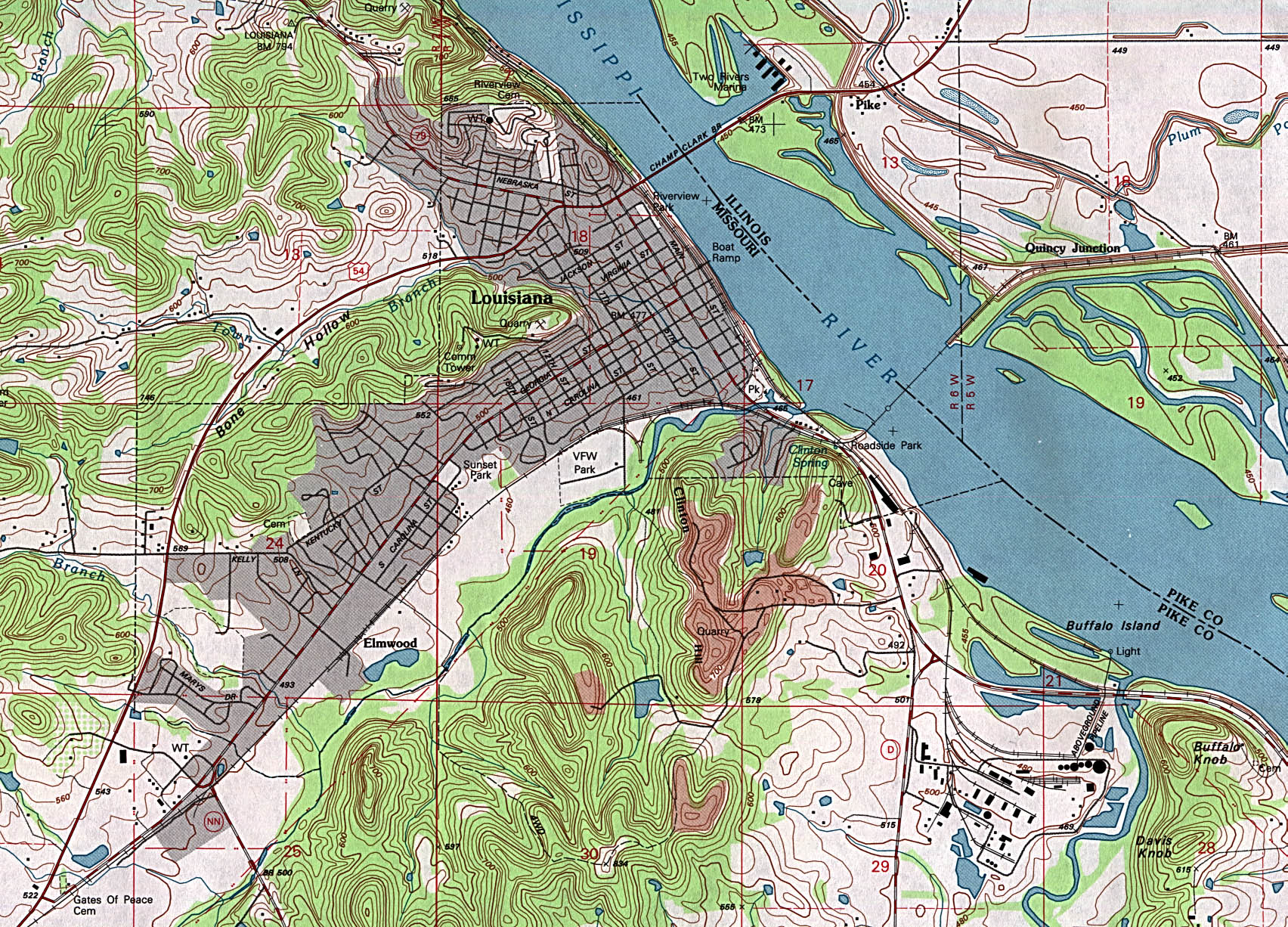 Louisiana Topographic City Map, Missouri, United States