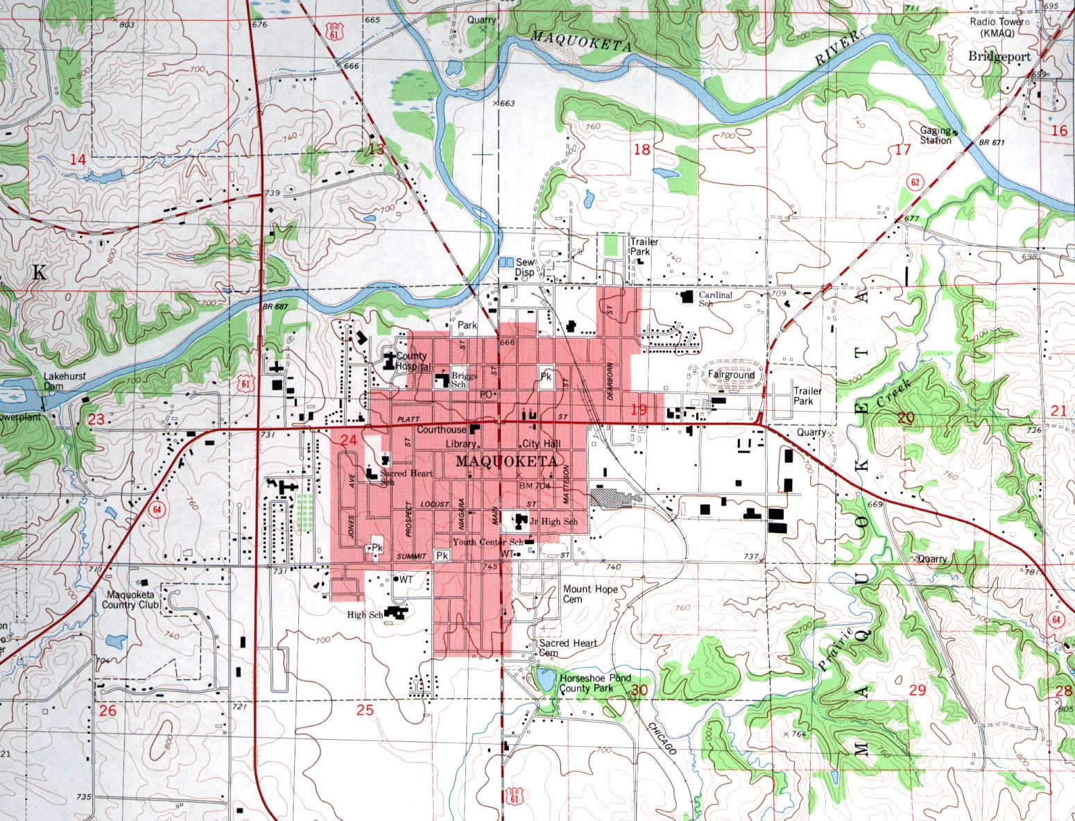 Mapa Topográfico de la Ciudad de Maquoketa, Iowa, Estados Unidos