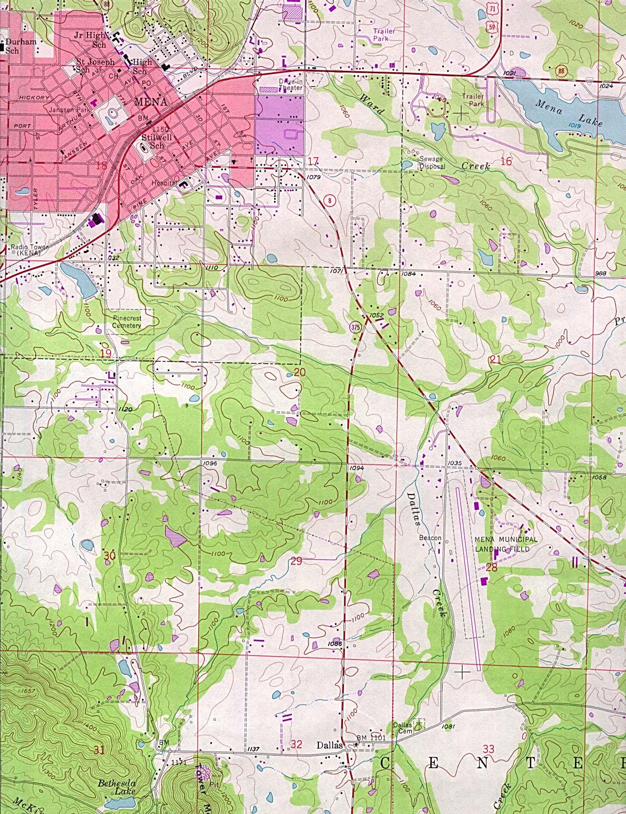 Mapa Topográfico de la Ciudad de Mena, Arkansas, Estados Unidos