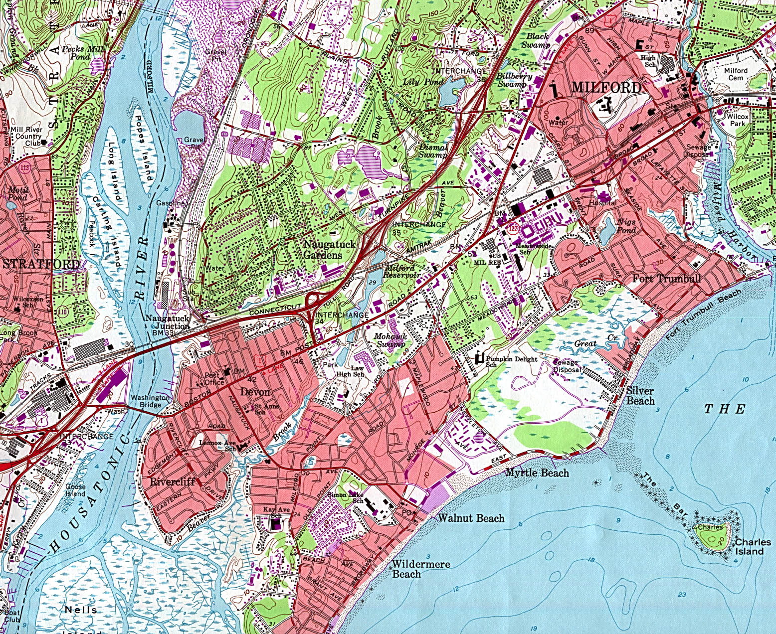 Milford Topographic City Map, Connecticut, United States