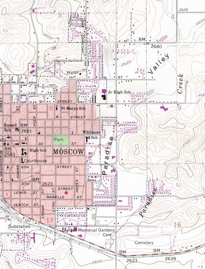 Mapa Topográfico de la Ciudad de Moscú, Idaho, Estados Unidos