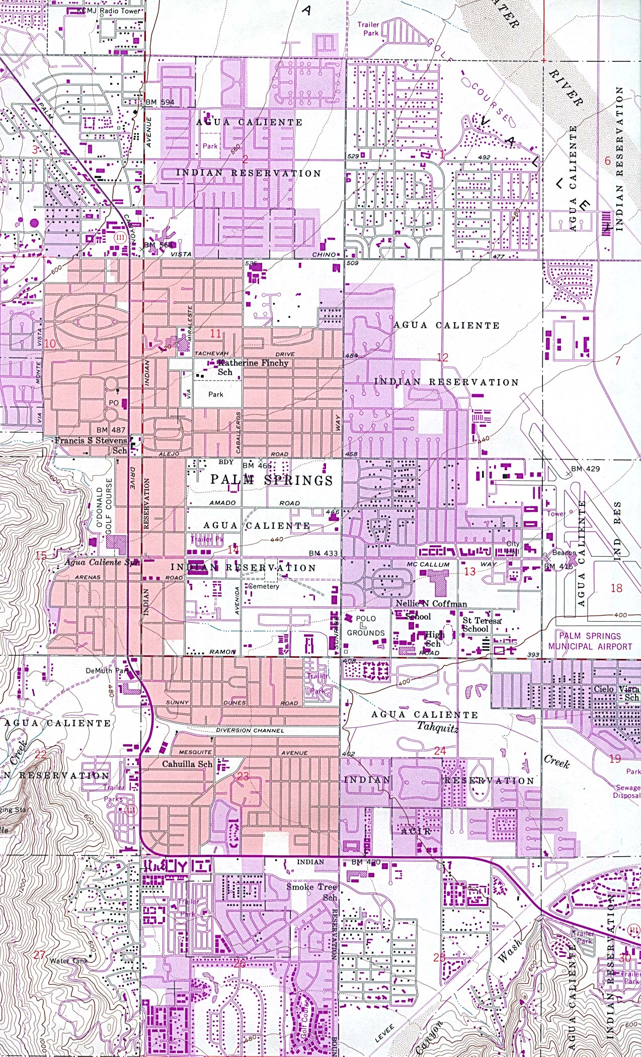 Palm Springs Topographic City Map, California, United States