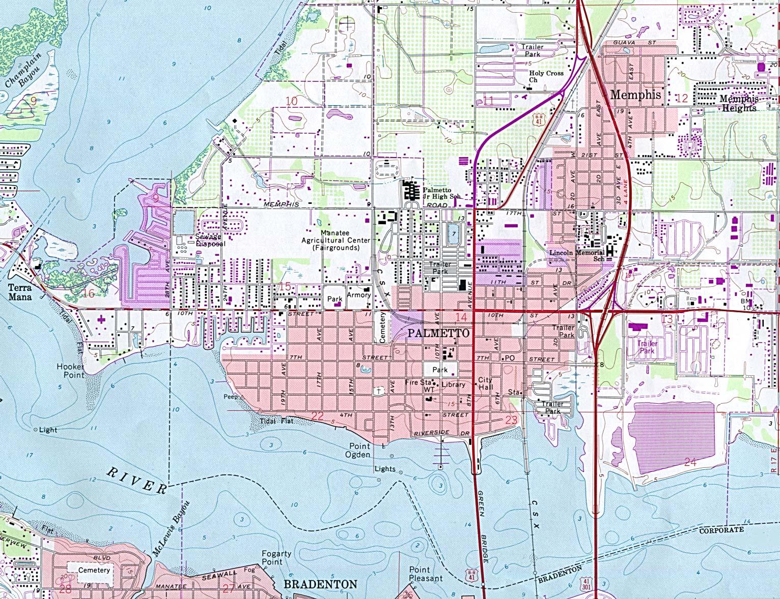 Palmetto Topographic City Map, Florida, United States