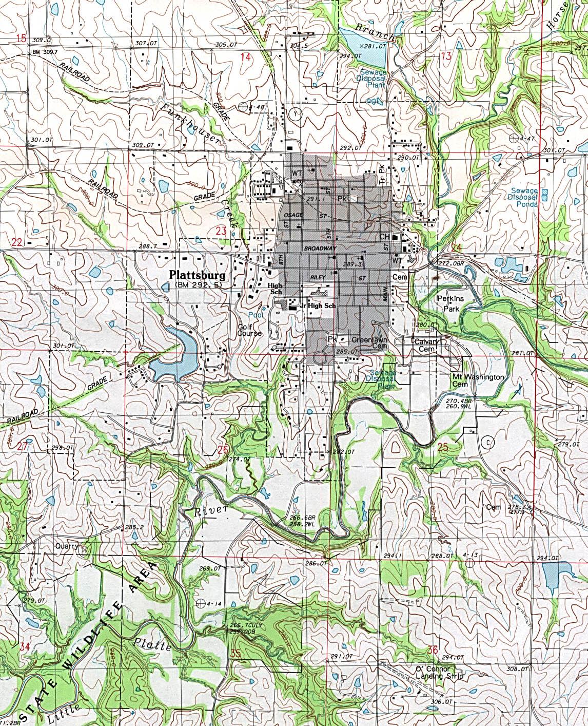 Mapa Topográfico de la Ciudad de Plattsburg, Missouri, Estados Unidos