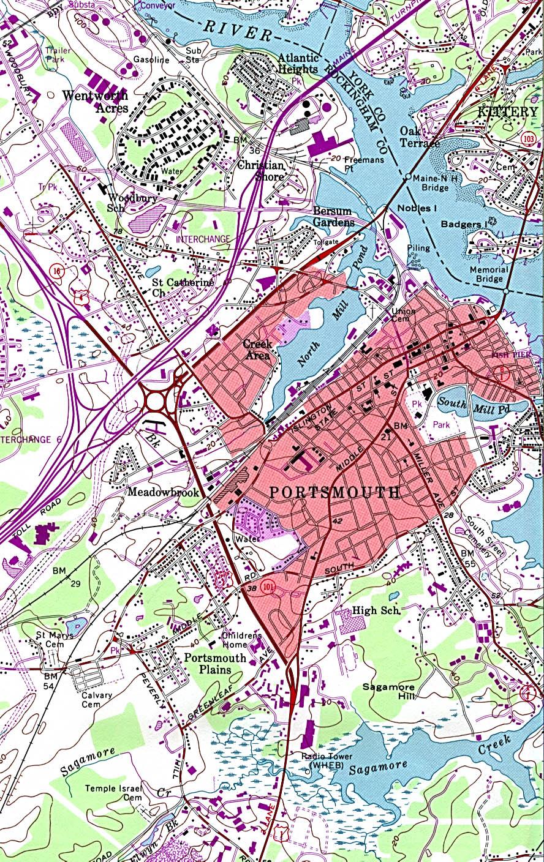 Mapa Topográfico de la Ciudad de Portsmouth, Nuevo Hampshire, Estados Unidos