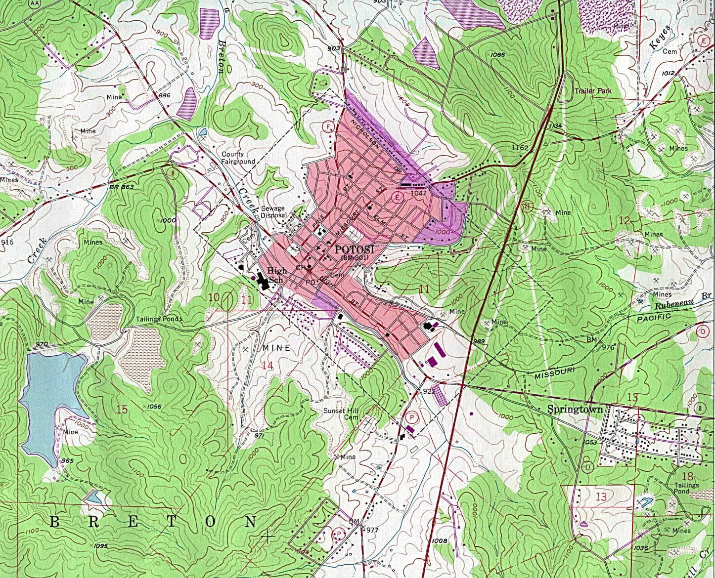 Potosi Topographic City Map, Missouri, United States