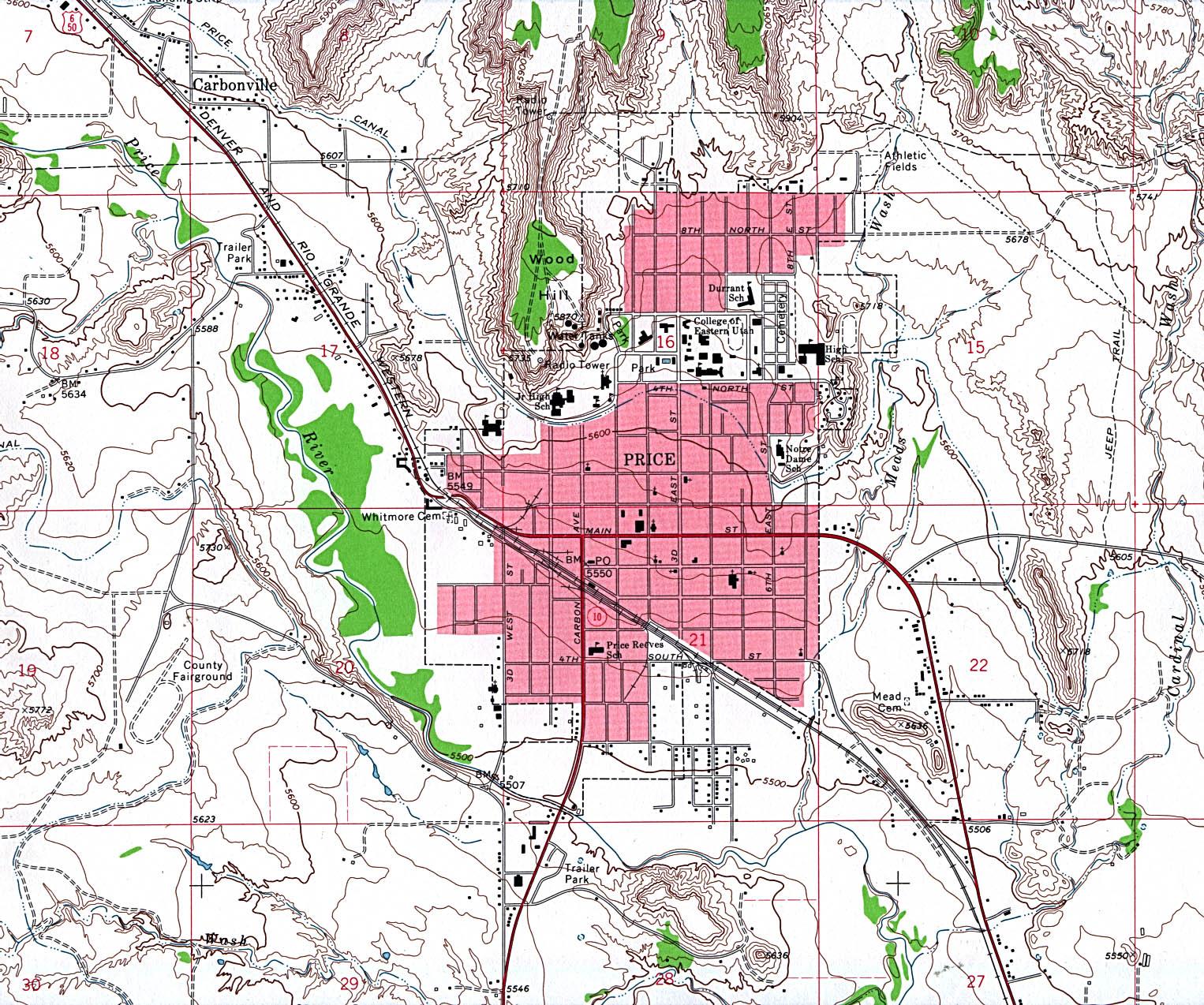 Mapa Topográfico de la Ciudad de Price, Utah, Estados Unidos