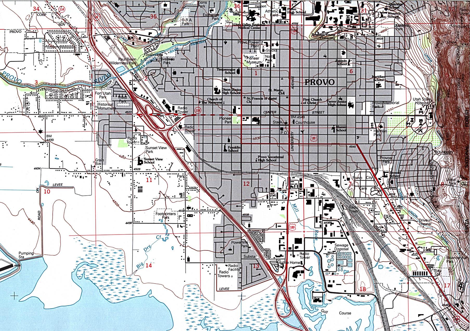 Mapa Topográfico de la Ciudad de Provo, Utah, Estados Unidos