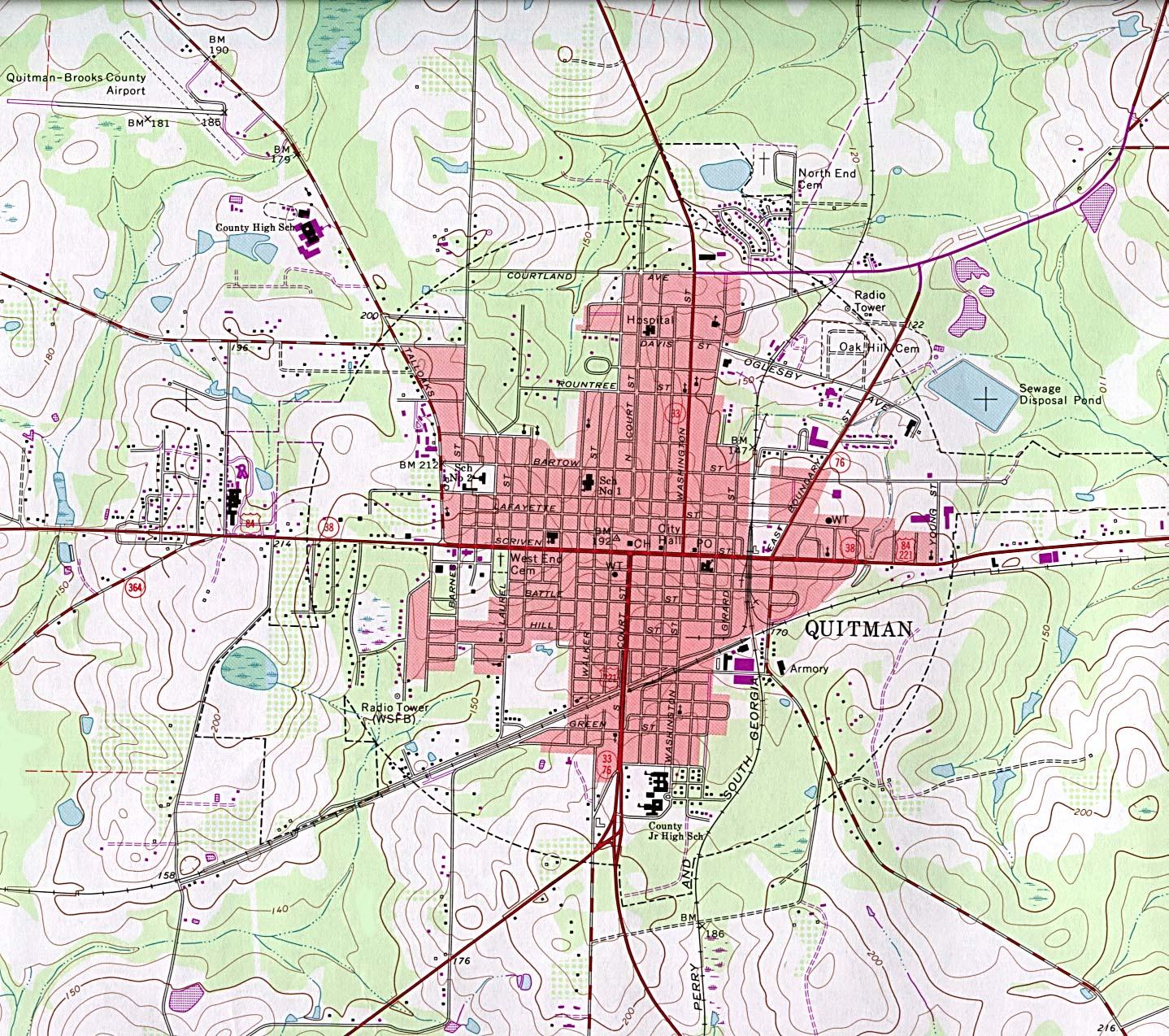 Quitman Topographic City Map, Georgia, United States