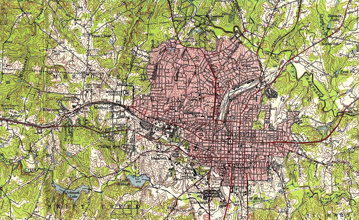 Mapa Topográfico de la Ciudad de Raleigh, Carolina del Norte, Estados Unidos 1951