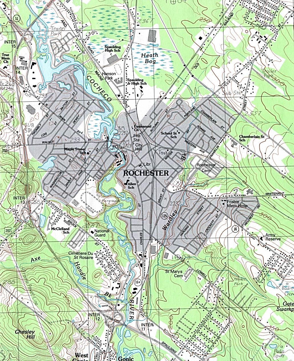 Mapa Topográfico de la Ciudad de Rochester, Nuevo Hampshire, Estados Unidos