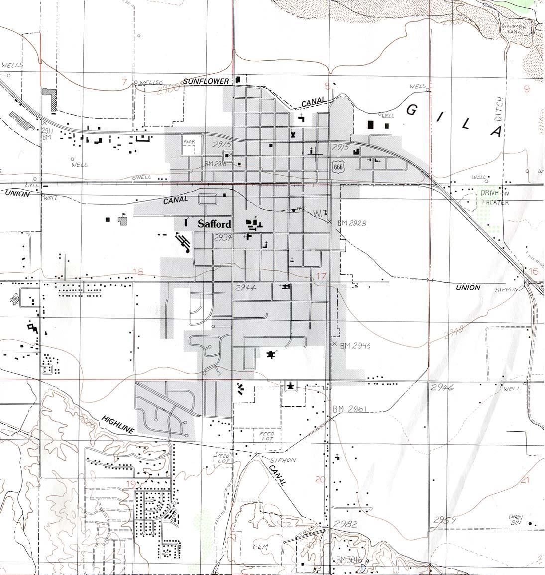 Mapa Topográfico de la Ciudad de Safford, Arizona, Estados Unidos