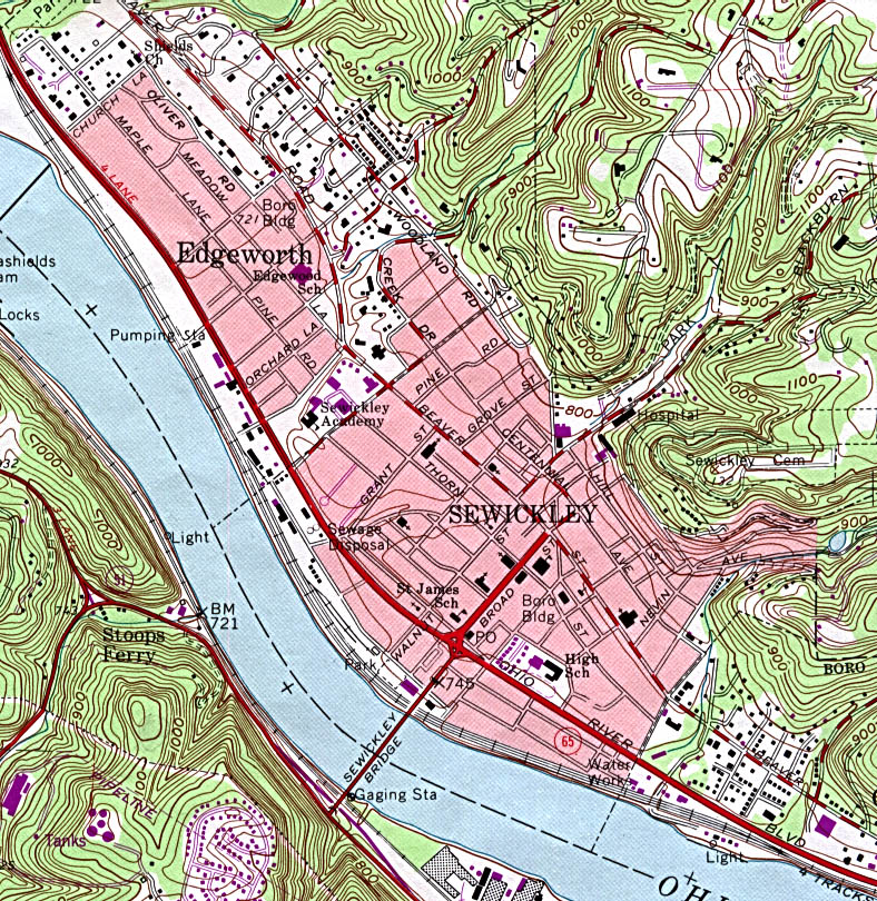 Sewickley Topographic City Map, Pennsylvania, United States