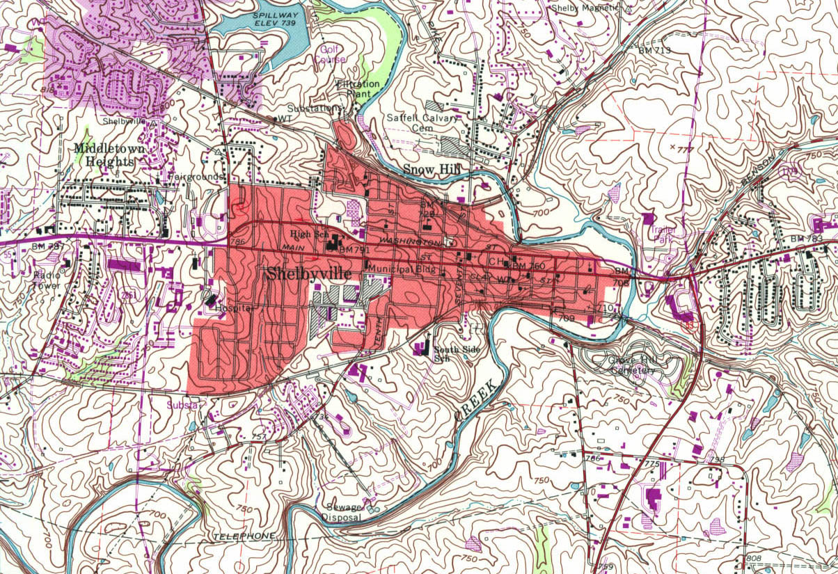 Shelbyville Topographic City Map, Kentucky, United States