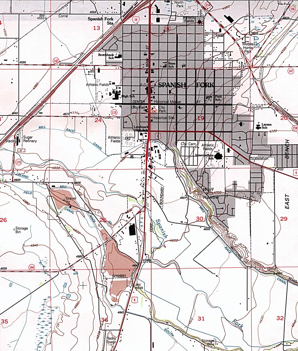 Mapa Topográfico de la Ciudad de Spanish Fork, Utah, Estados Unidos
