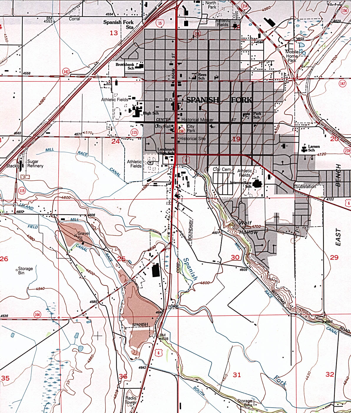 Spanish Fork Topographic City Map, Utah, United States