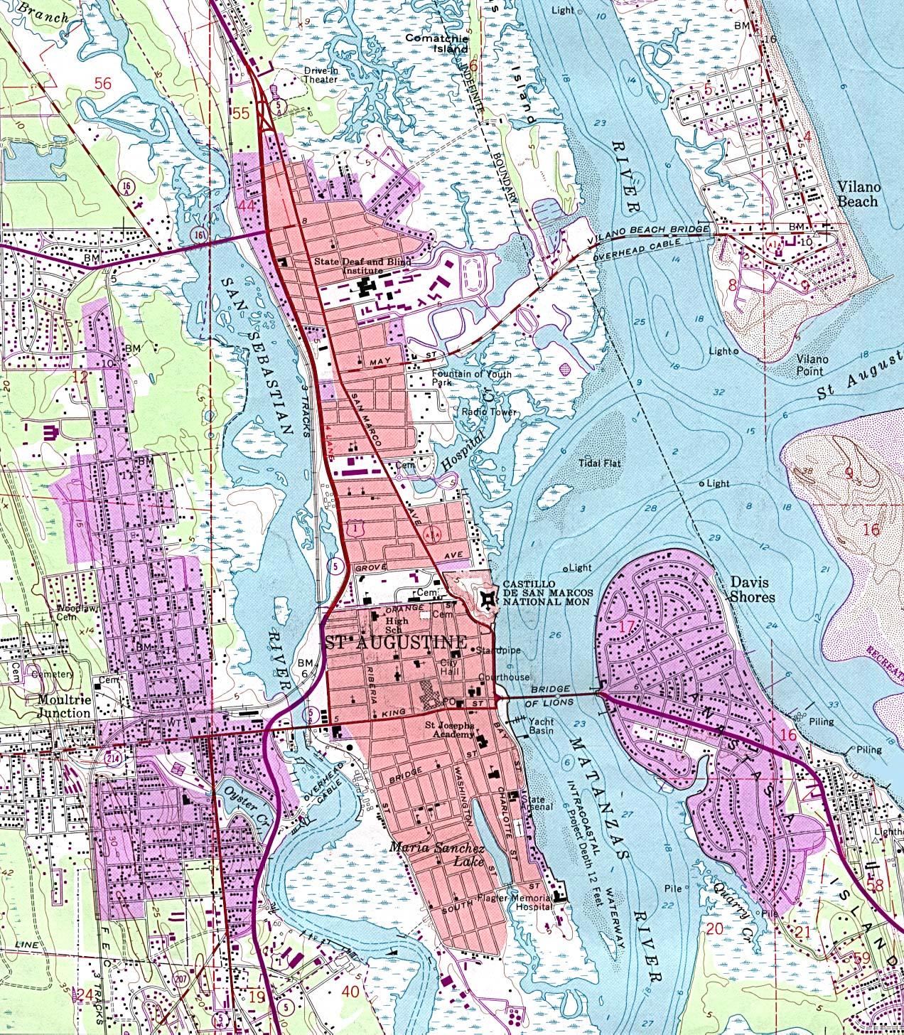 St. Augustine Topographic City Map, Florida, United States