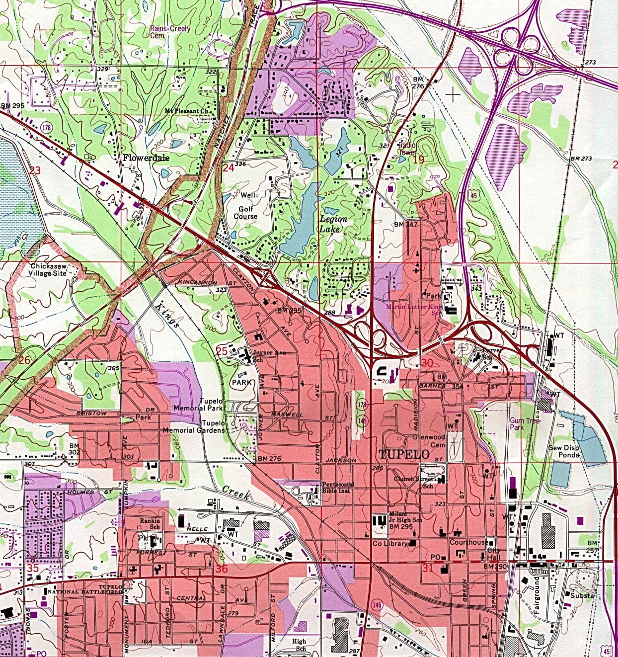 Mapa Topográfico de la Ciudad de Tupelo, Misisipi, Estados Unidos