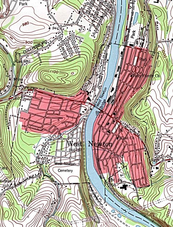 Mapa Topográfico de la Ciudad de West Newton, Pensilvania, Estados Unidos