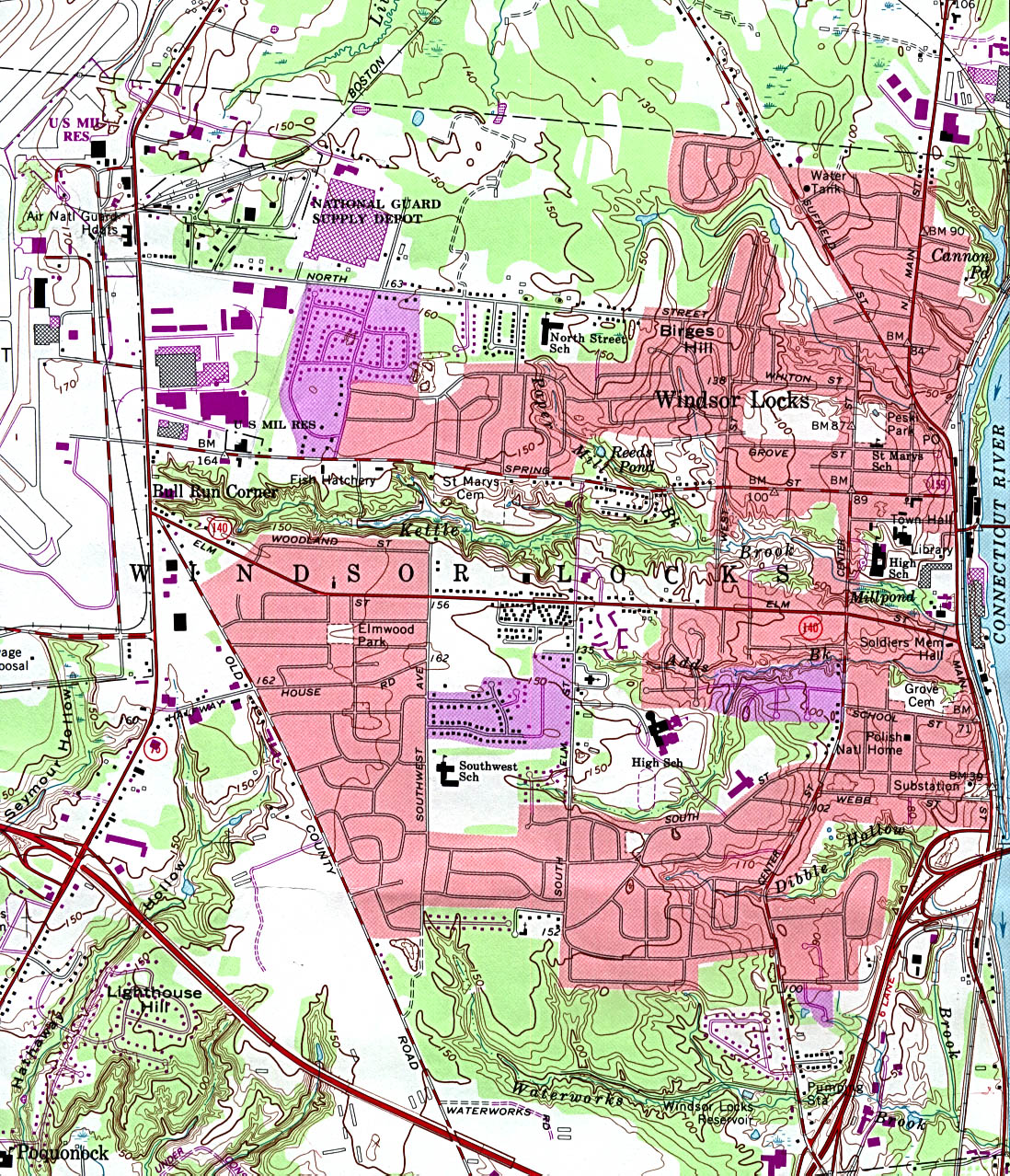 Windsor Locks Topographic City Map, Connecticut, United States