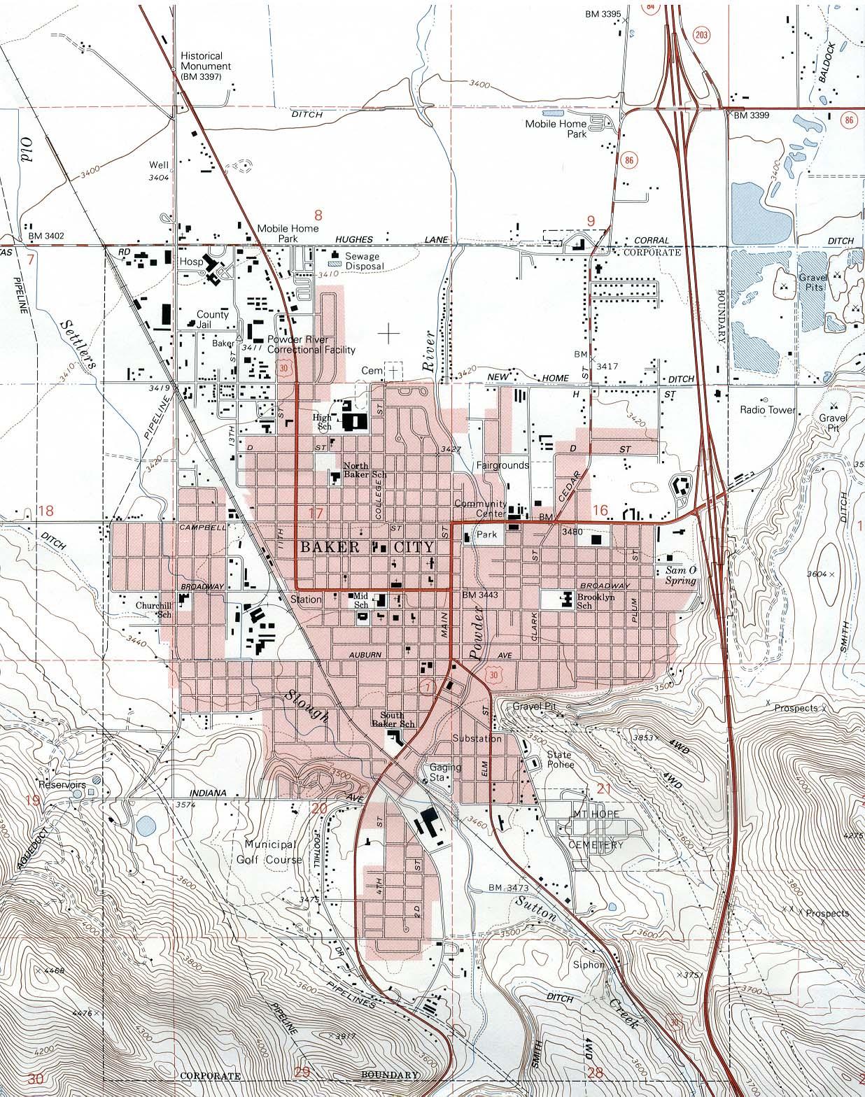 Baker City Topographic Map, Oregon, United States