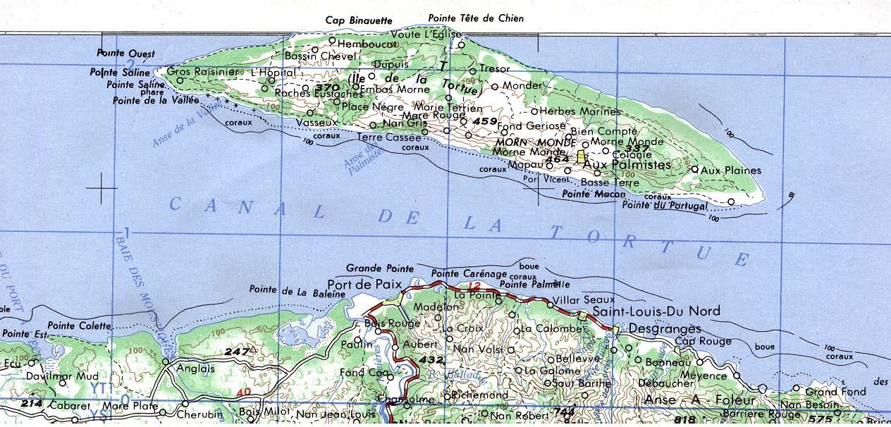 Ile de la Tortue Topographic Map, Haiti
