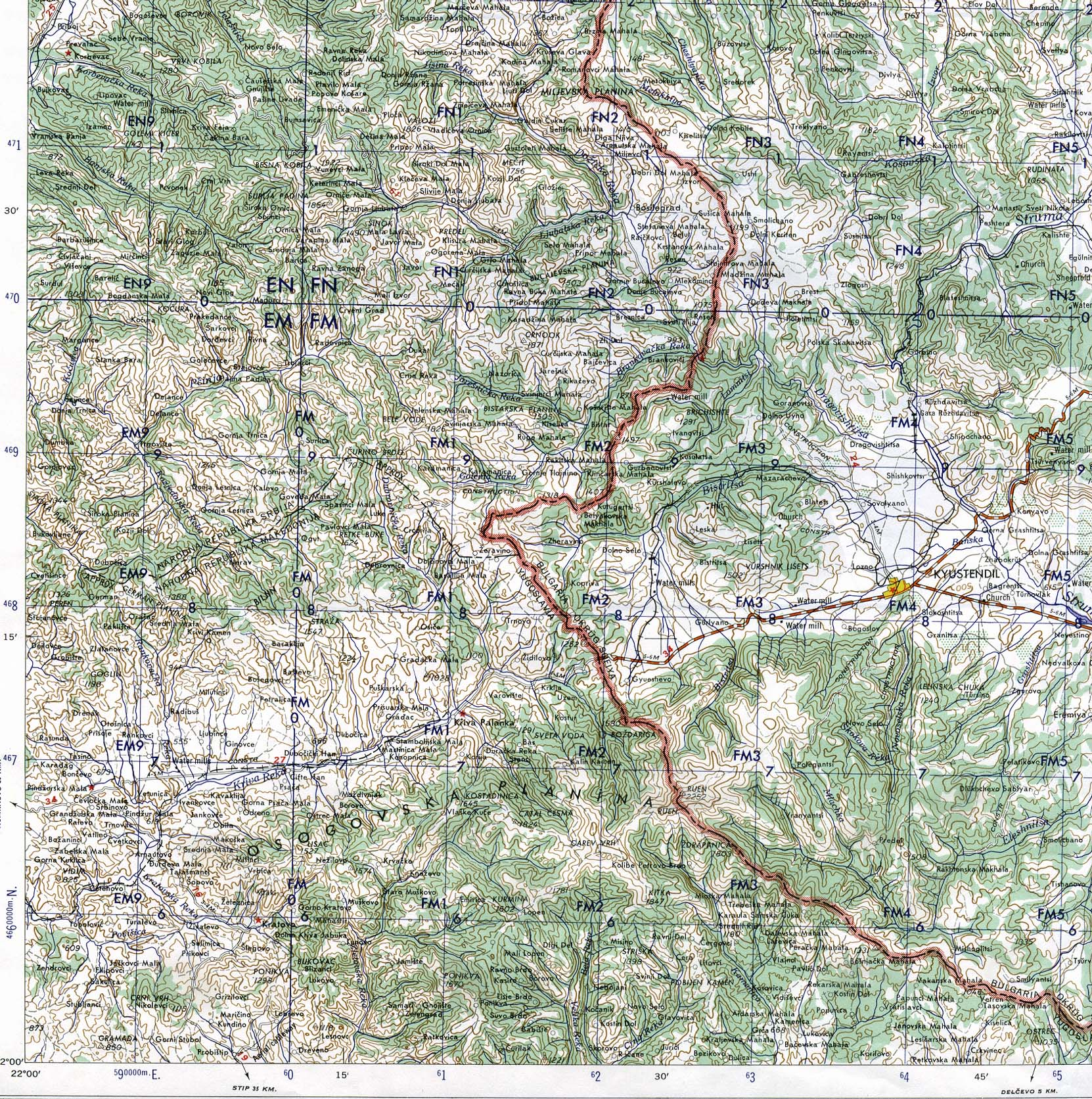 Topographic Map of Area East of Kumanovo, Macedonia 1959