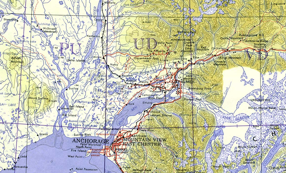 Anchorage Area Topographic Map, Alaska, United States 1960