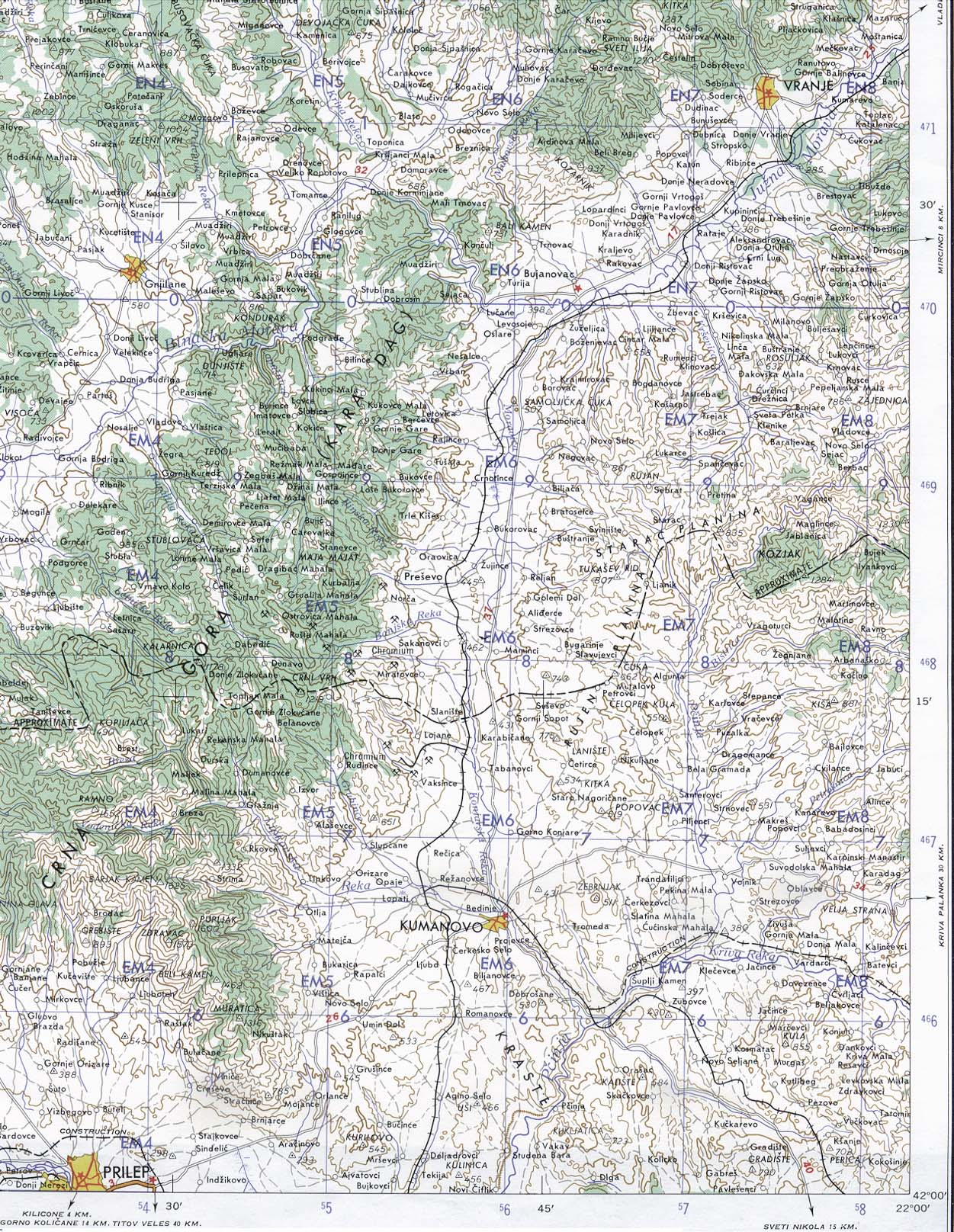Kumanovo / Prilep Area Topographic Map, Macedonia 1959