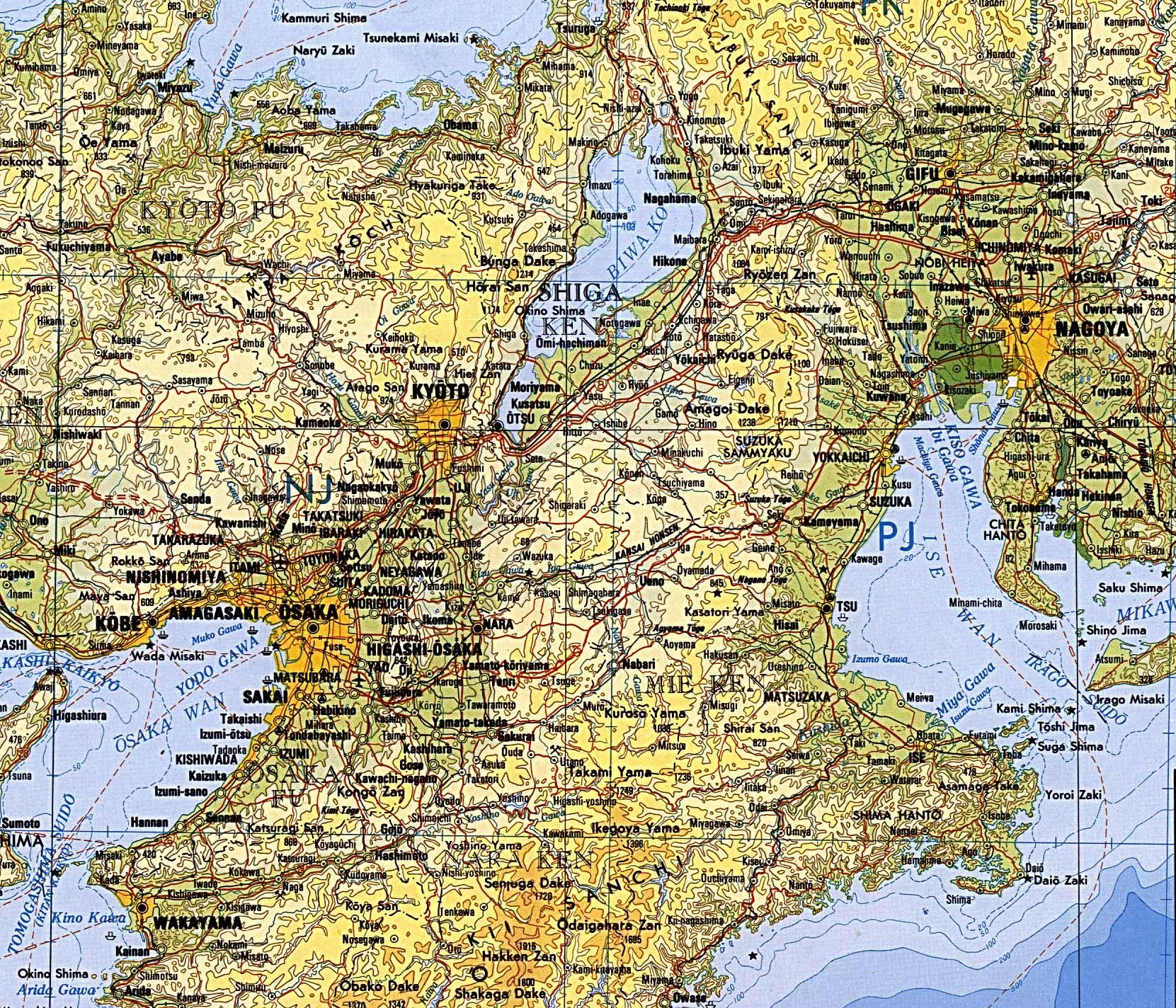 Mapa Topográfico de la Région de Osaka, Kioto y Nagoya, Japón