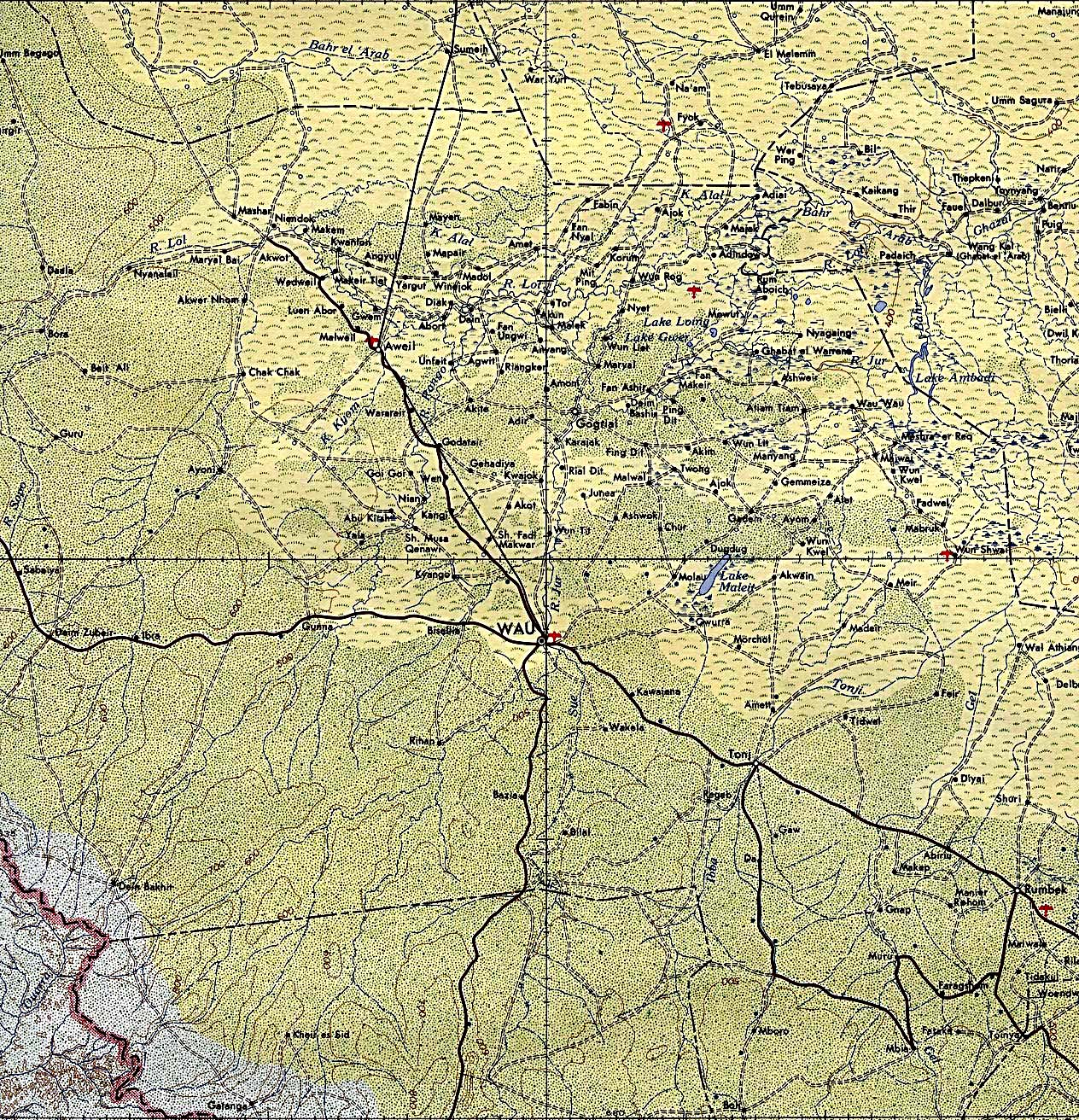 Wau Area Topographic Map, Sudan