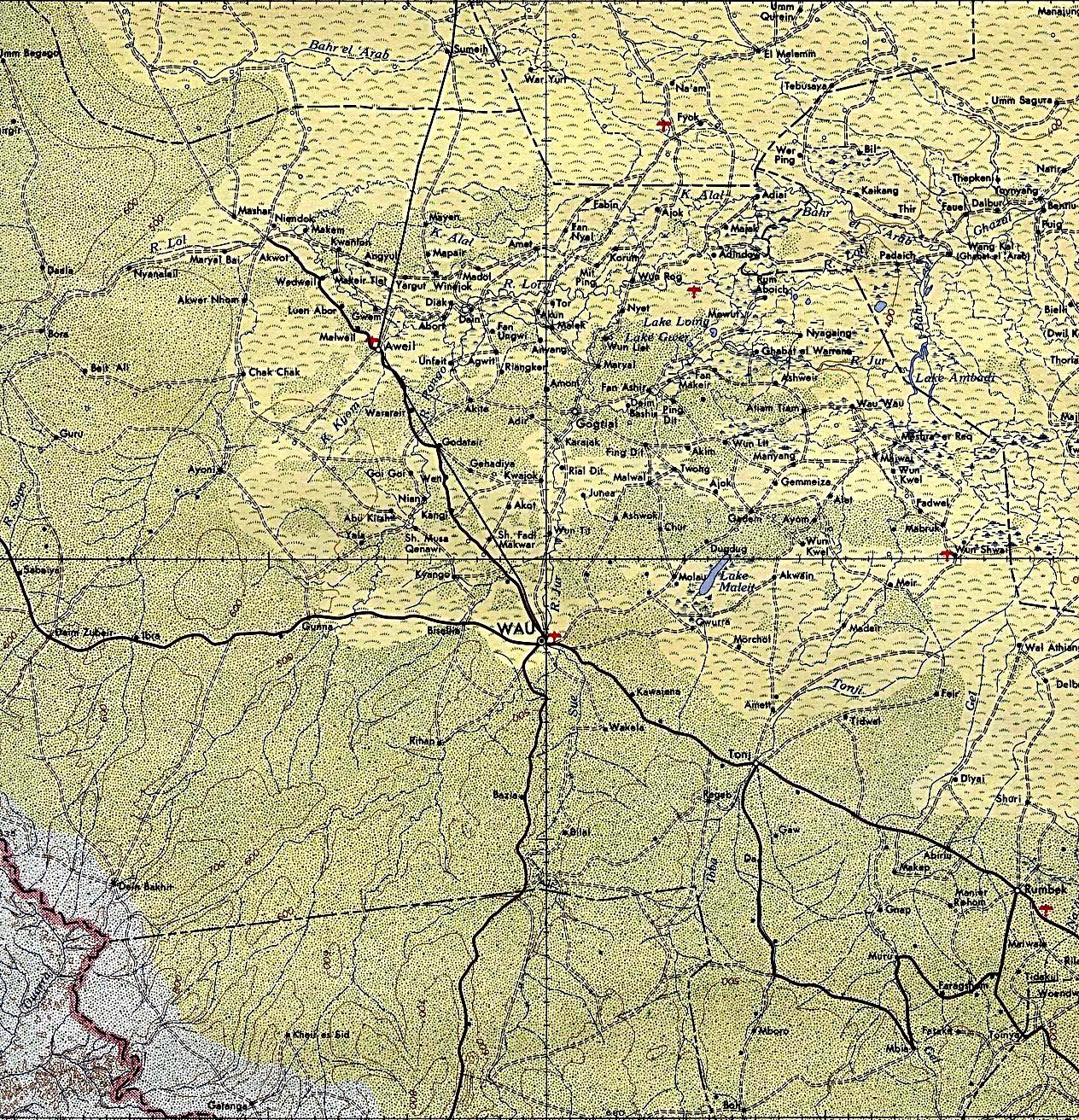 Mapa Topográfico de la Región de Wau, Sudán 1965
