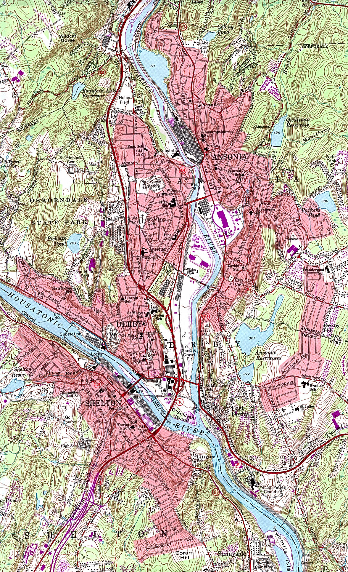 Ansonia, Derby, Shelton Topographic City Map, Connecticut, United States