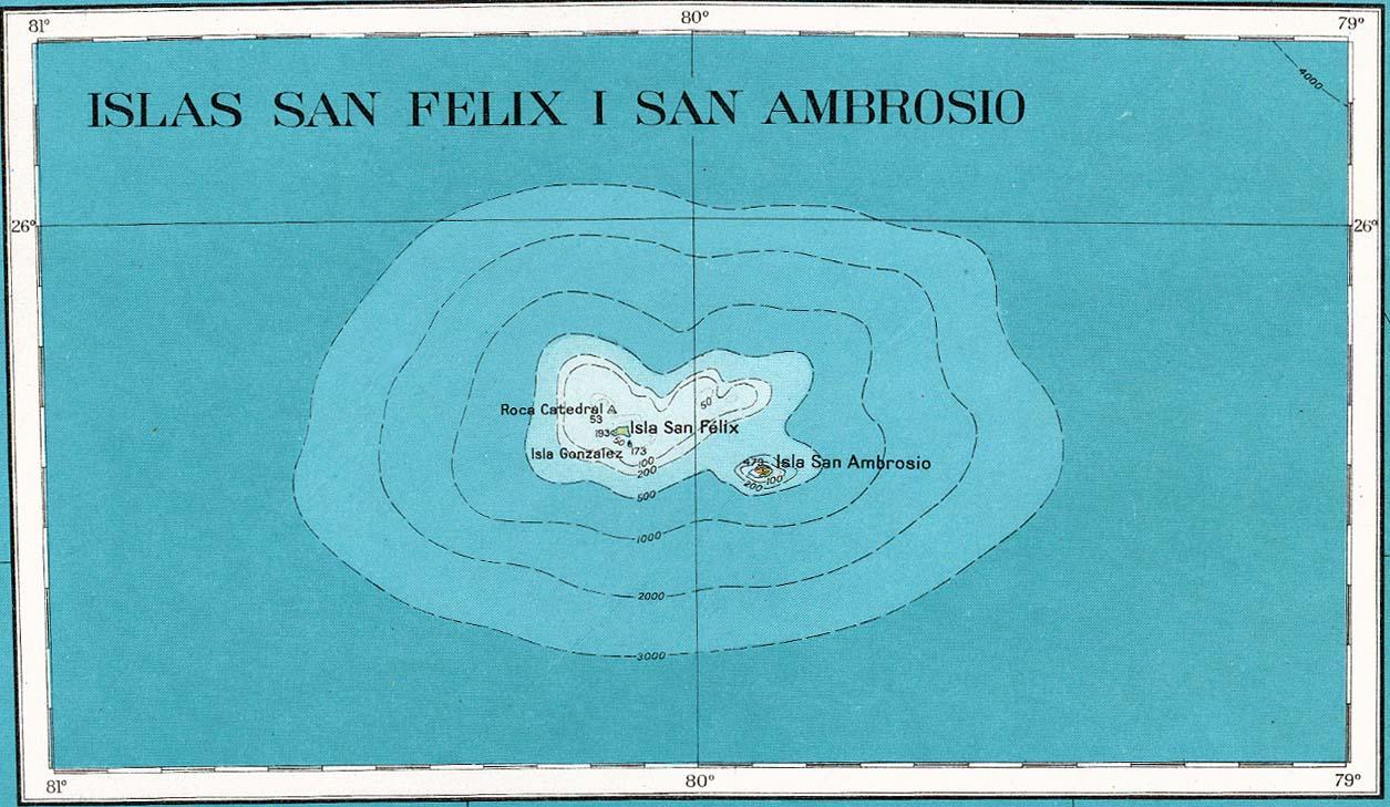 Mapa Topográfico de las Islas San Felix y San Ambrosio 1927