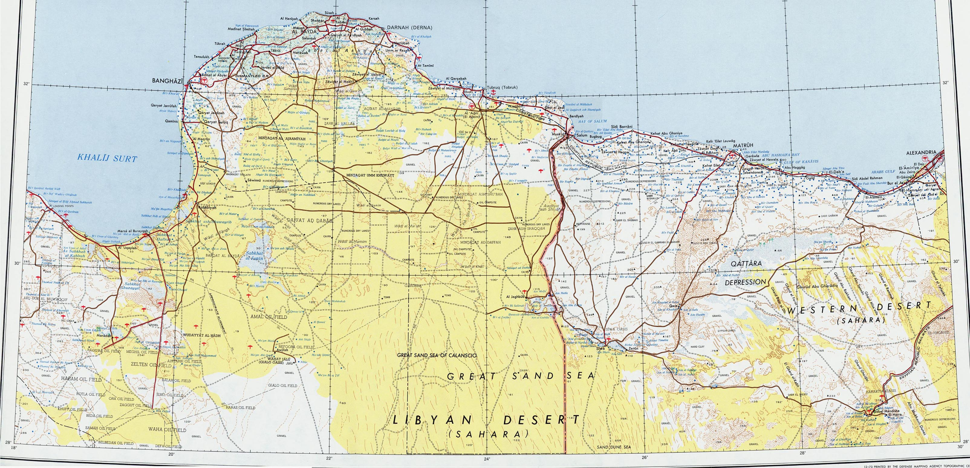 Northeast Libya Topographic Map