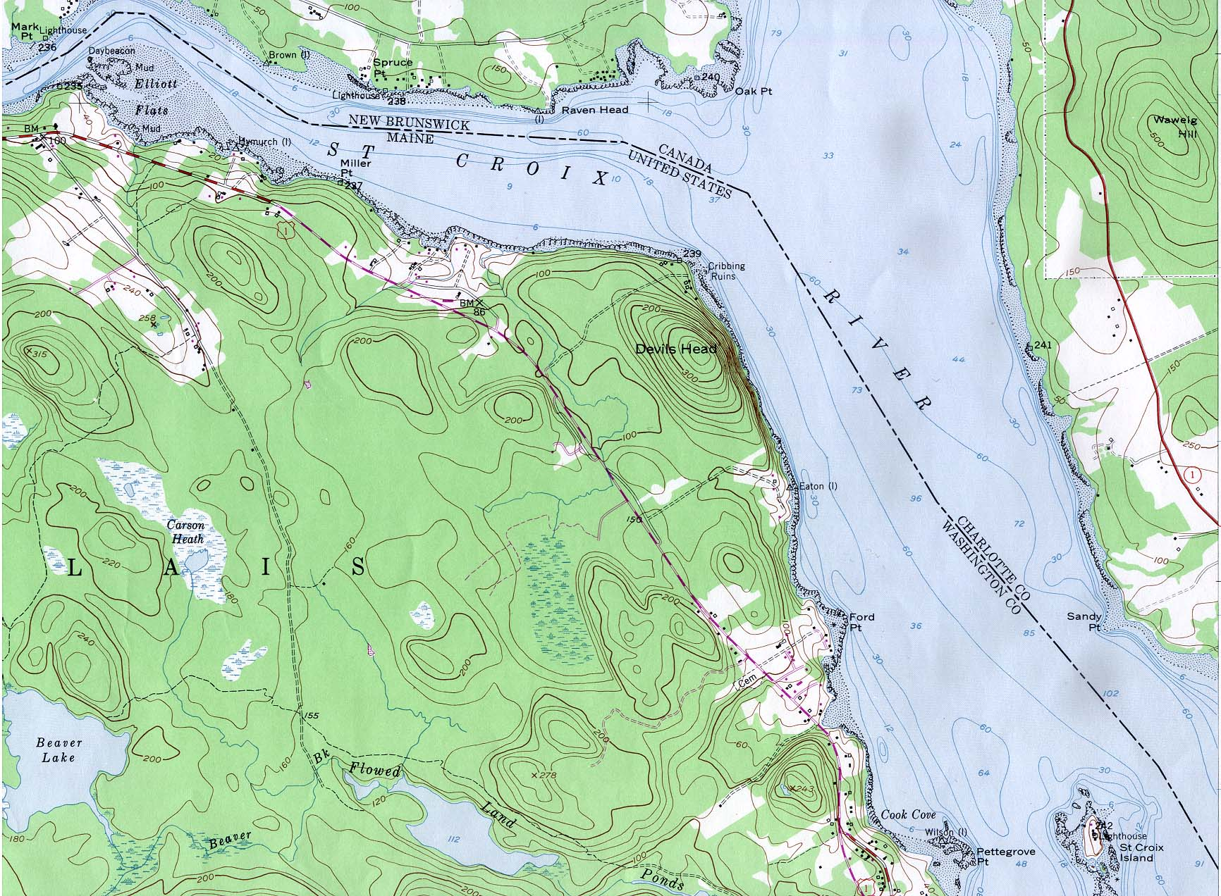 Topographic Map of St. Croix River from Mark Point Lighthouse to St. Croix Island