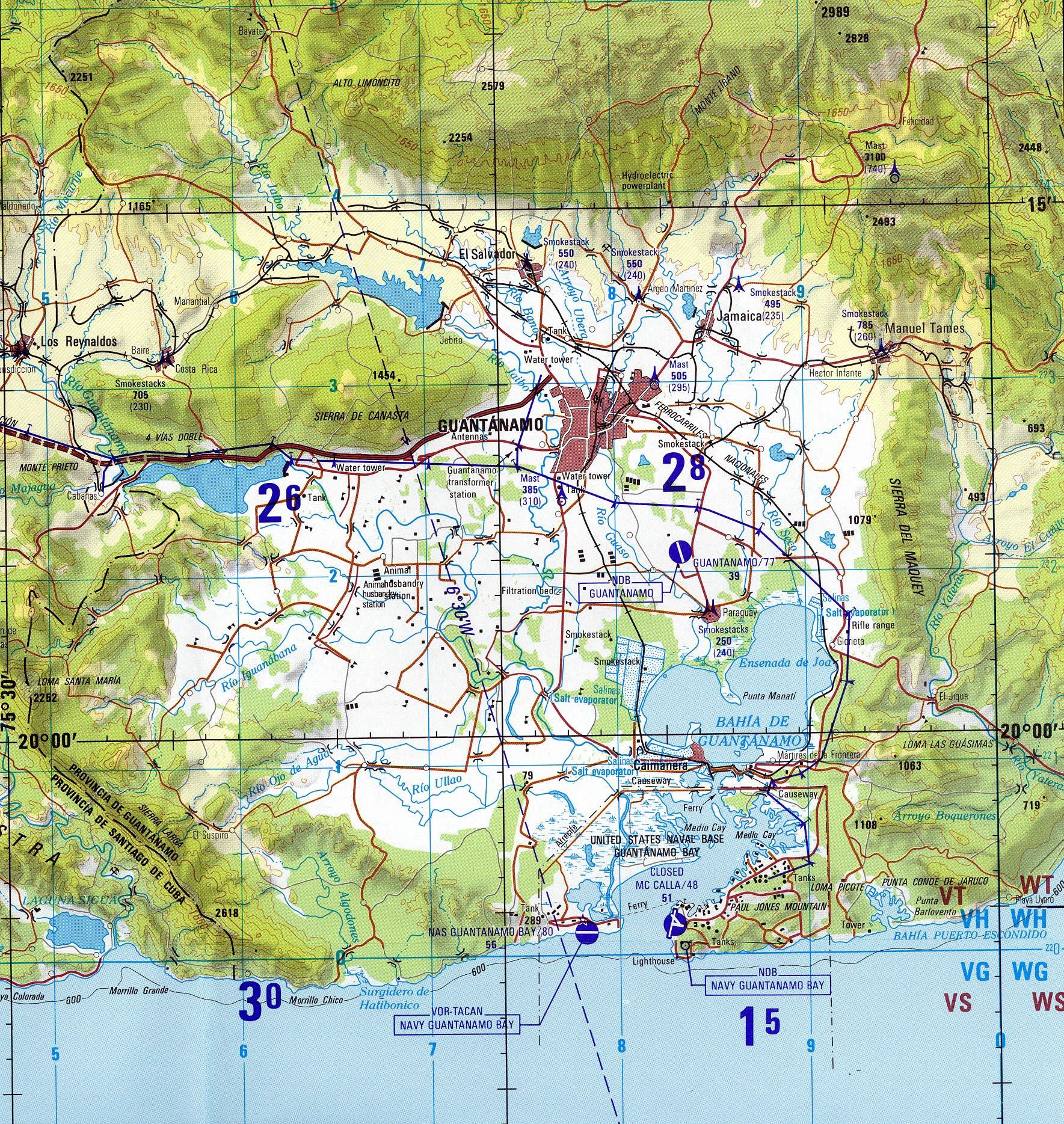 Mapa Topográfico del Área de Guantánamo, Cuba