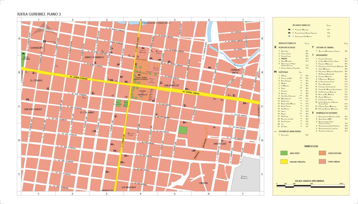 Mapa Tuxtla Gutiérrez (Centro), Chiapas, Mexico