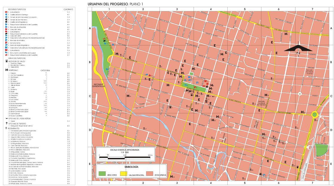 Uruapan del Progreso Map, Michoacán de Ocampo, Mexico