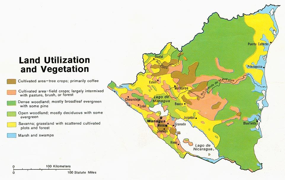 Mapa Vegetación y Utilización de la Tierra de Nicaragua