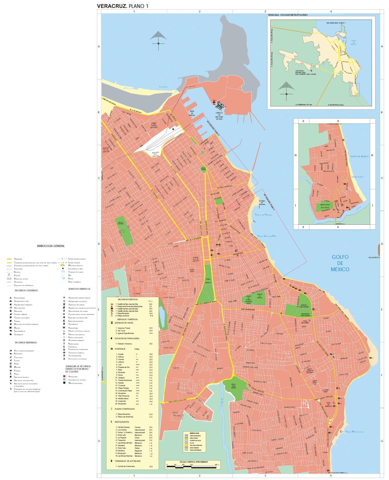 Veracruz Map, Veracruz-Llave, Mexico