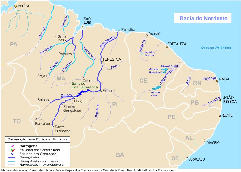 North East Basin Waterways Map, Brazil