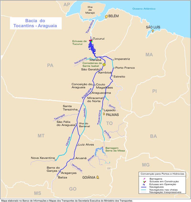 Mapa, Vias Fluviales y Canales, Cuenca de los Rios Tocantins y Araguaia, Brasil